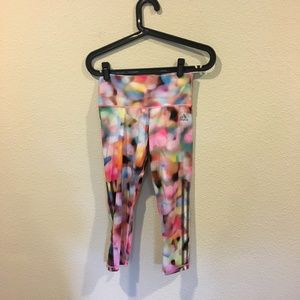 adidas Pants - Adidas climalite pink pattern cropped leggings